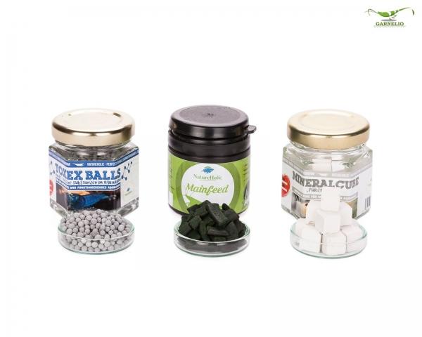 "NatureHolic - Garnelen ""Sorglos"" Paket - Mainfeed - 30g / Mineralcube ""Pure"" - 47ml / ToxEx Balls - 47ml"