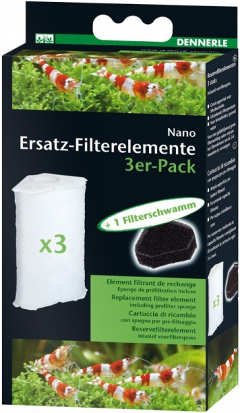 Dennerle Nano Clean, Ersatz-Filterelement, 3er-Pack